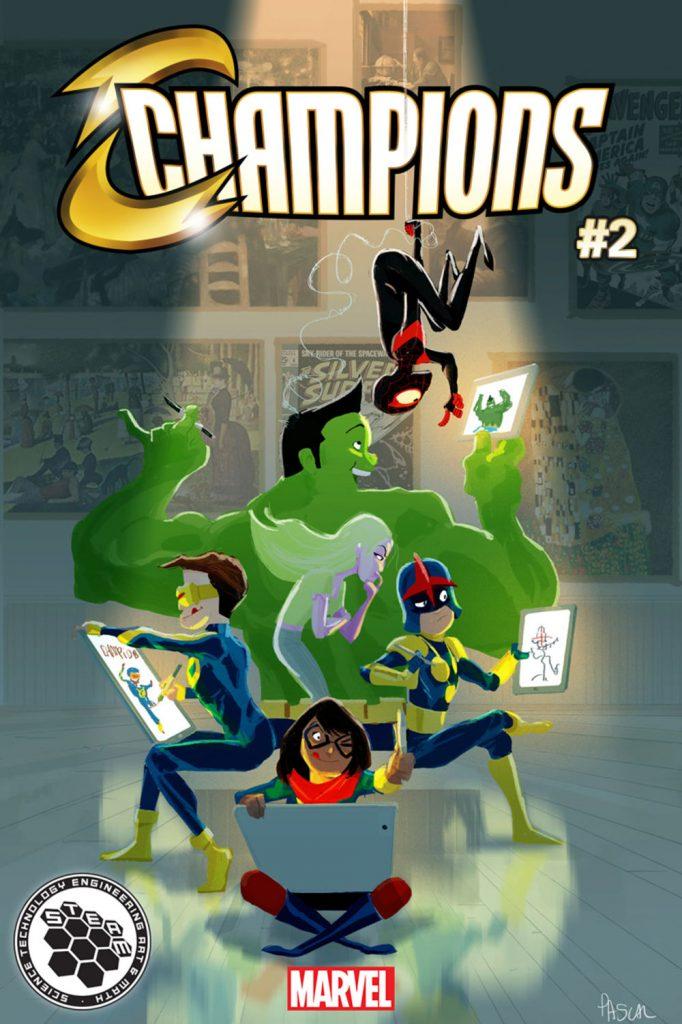 Şampiyonlar Kapağı: Sanat Marvel STEAM markalı kapak Örümcek Adam, Ms. Marvel, Nova, İnanılmaz Hulk, Viv ve genç Cyclops'un katılımıyla, STEAM'in sanat dalını takdim eder.