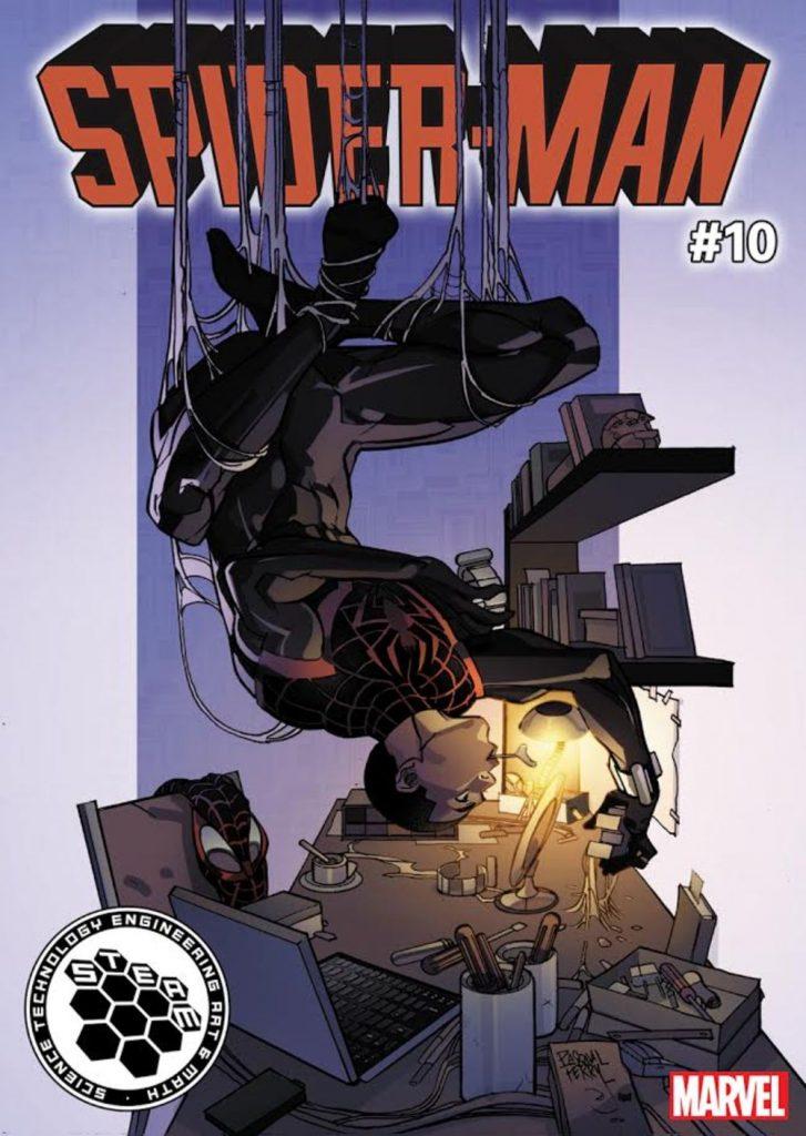 Örümcek Adam Kapağı: Teknoloji Örümcek Adam Miles Morales, Marvel'in yeni STEAM'e adanmış çizgi roman kapağında zorlu bir iş üzerinde