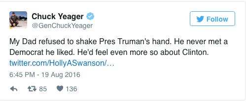 """""""Babam Başkan Truman'ın elini sıkmayı reddetmişti. Hiçbir zaman sevdiği bir Demokrat olmadı. Aynı şeyleri muhtemelen Clinton için de hissederdi."""""""