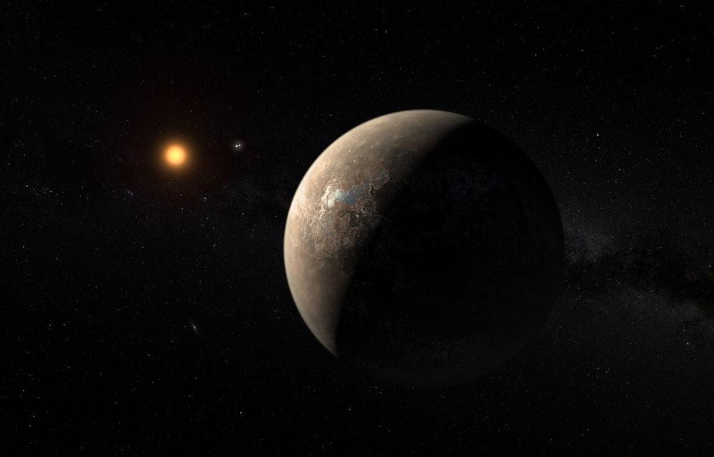 Bir sanatçının izleniminden Dünya'dan 4.2 ışık yılı uzaklıkta bulunan Proxima b adlı güneş sistemi dışındaki bir gezegen.