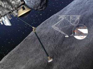 Osiris-Rex, Bennu asteroidinin üzerine iniş yapmak yerine 3 metrelik kolunu yüzeye uzatarak karbonlu bileşiklere sahip numuneleri toplayacak. Bu kol daha sonra aldığı örnekleri kek şeklinde bir kapsüle koyarak Dünya'ya gönderecek. Bilim insanlarının tahminine göre bunun gibi asteroitler Dünya'nın ilk yaşam tohumlarını atmış olabilir. (İlüstrasyon Pete Sucheski tarafından)