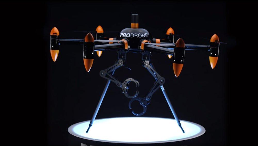 Bu kolları olan bir Drone. Bu drone'nun adı biraz kullanışsız: PD6B-AW-ARM. Karşılığı, ''Prodrone 6 bıçaklı 4 Mevsimkol'', Fakat hala pençeleri olan uçan bir robot için fena halde sıkıcı bir isim.