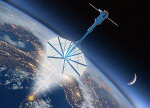Uzay Yelkenlisi Sonda Konsepti Uzay yelkenlisi sondayı göstermek amacıyla hazırlanan kompeks bir resim.