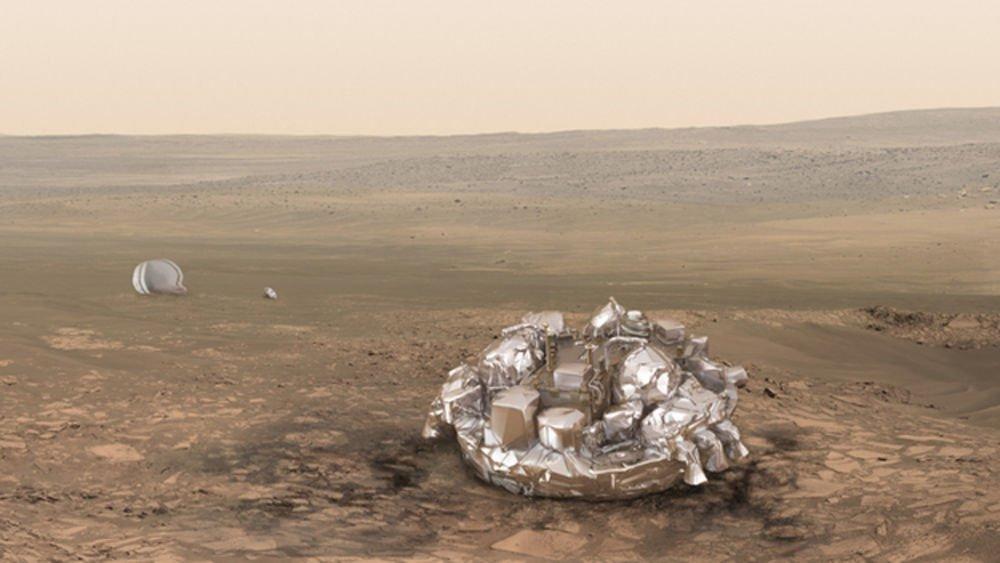 Mars Yüzeyindeki Kabin Sanatçının izleniminden Mars yüzeyindeki Schiaparelli iniş aracı kabini