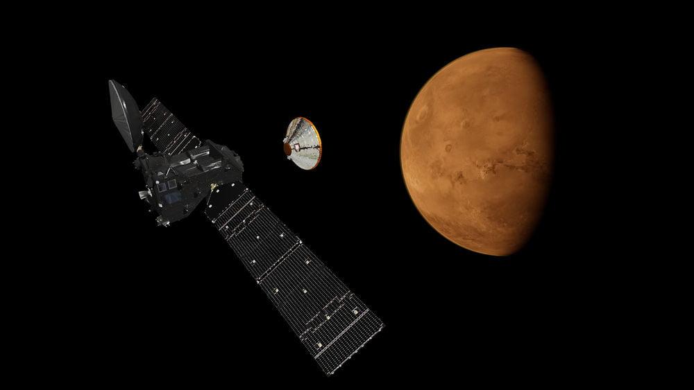 ExoMars İşaret Gazı Yörünge Aracı ve Schiaparelli'nin Ayrılması Sanatçının izleniminden İniş ve Yörünge Aracı birbirinden ayrılıp Mars'a doğru yol alıyor.